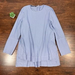 ZARA Striped Scoop Neck High-Low Tunic Blouse Top
